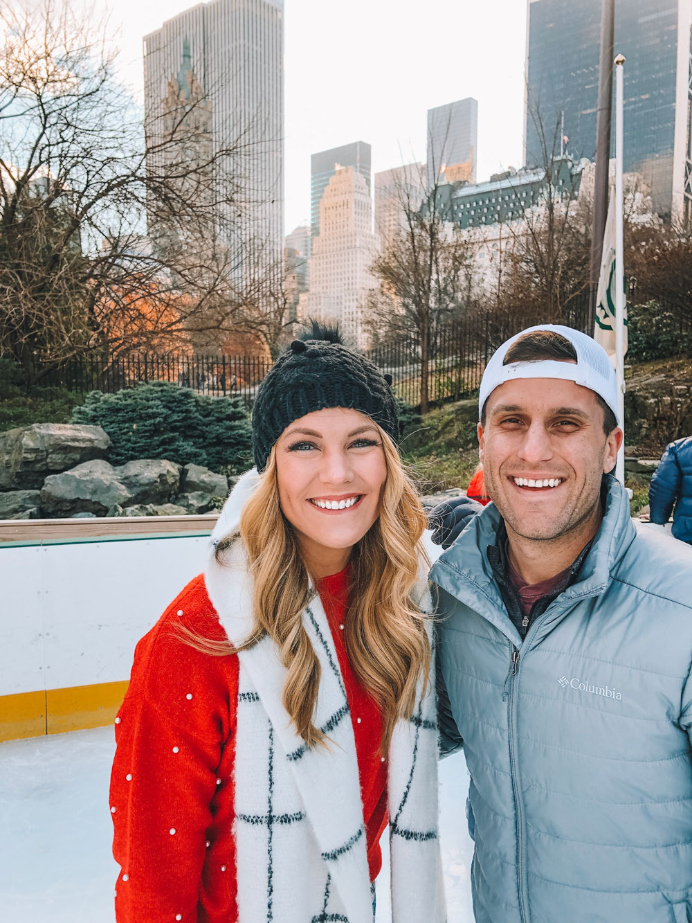 Oklahoma Blogger Amanda Martin and her husband visit NYC and ice skate in Central Park