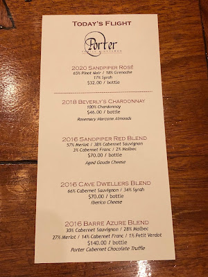 Tasting lineup at Porter Family Vineyards