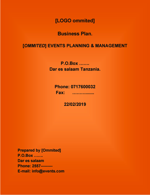 EVENT MANAGEMENT BUSINESS PLAN