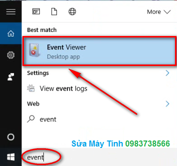 Bấm chọn Event Viewer