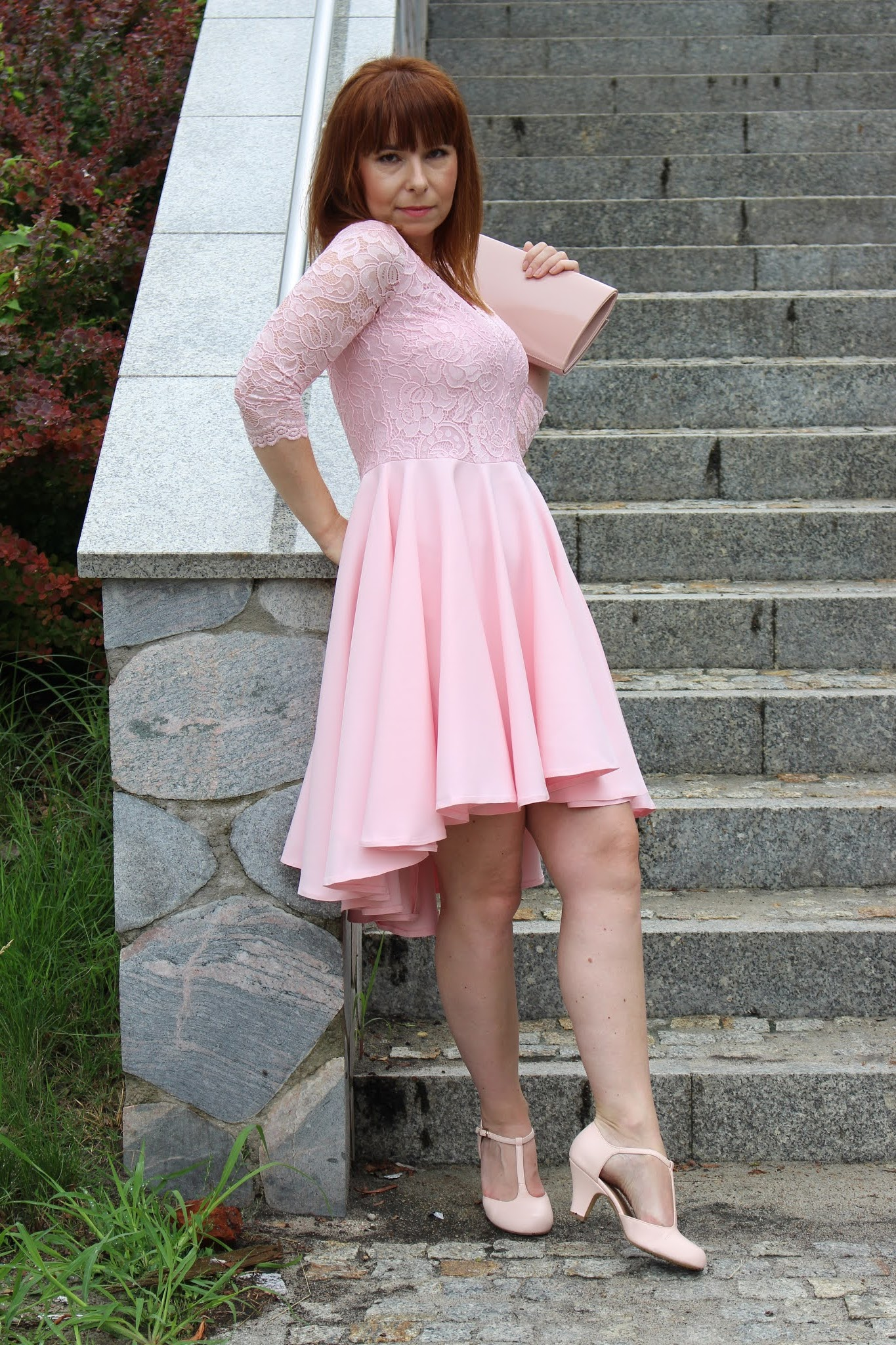 sukienka nicolle pastelowy róż