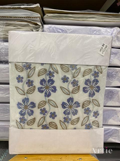 Hotfix stickers dmc rhinestone aplikasi tudung bawal fabrik pakaian bunga 5 kuntum dengan daun
