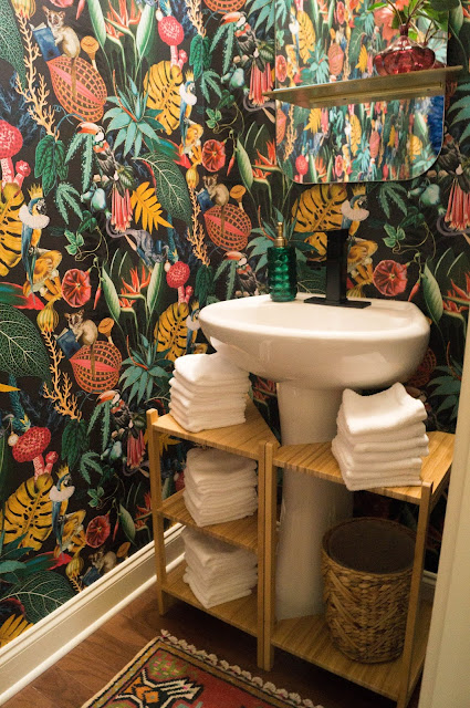 Colorful Powder Bath Makeover Pedestal Sink