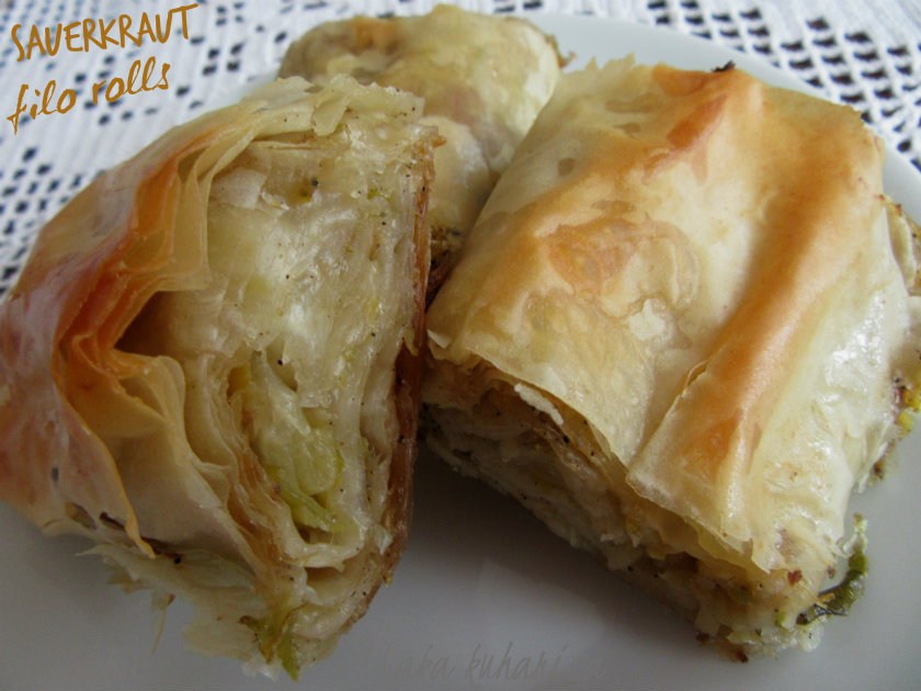 Sauerkraut filo rolls by Laka kuharica: easy and delicious savory roll to be enjoyed warm or cool.