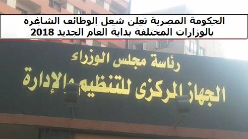 الحكومة المصرية تعلن شغل الوظائف الشاغرة بالوزارات المختلفة بداية العام الجديد 2018 ززز التفاصيل هنا