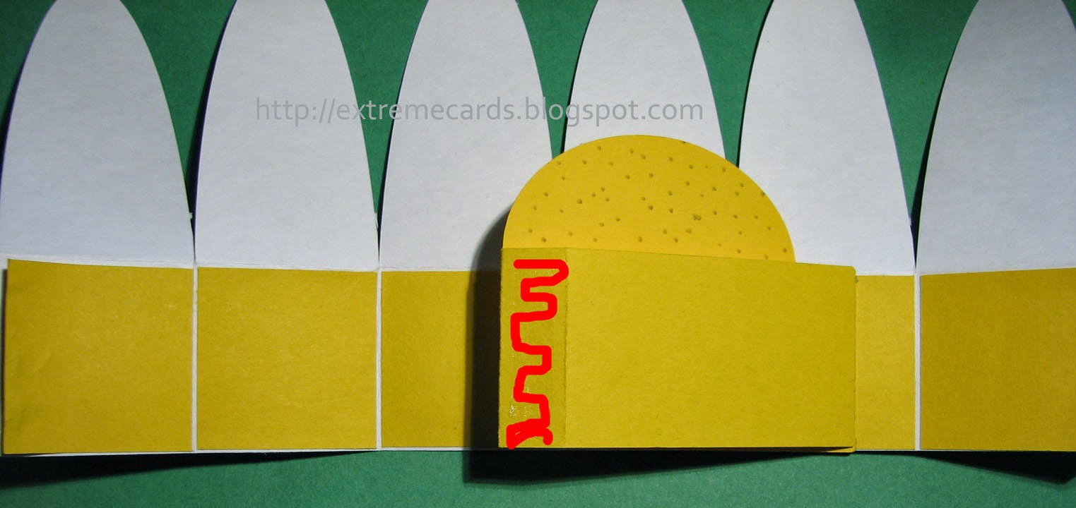 Adhering other side of strut to pop up card