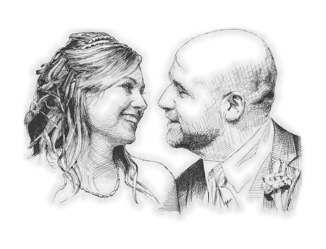 Couple wedding drawing