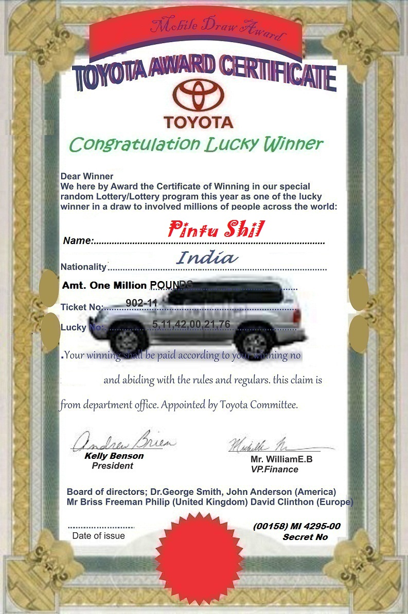 Email Frauds: TOYOTA COMPANY UNITED KINGDOM - BE WILLING TO RECEIVE ...