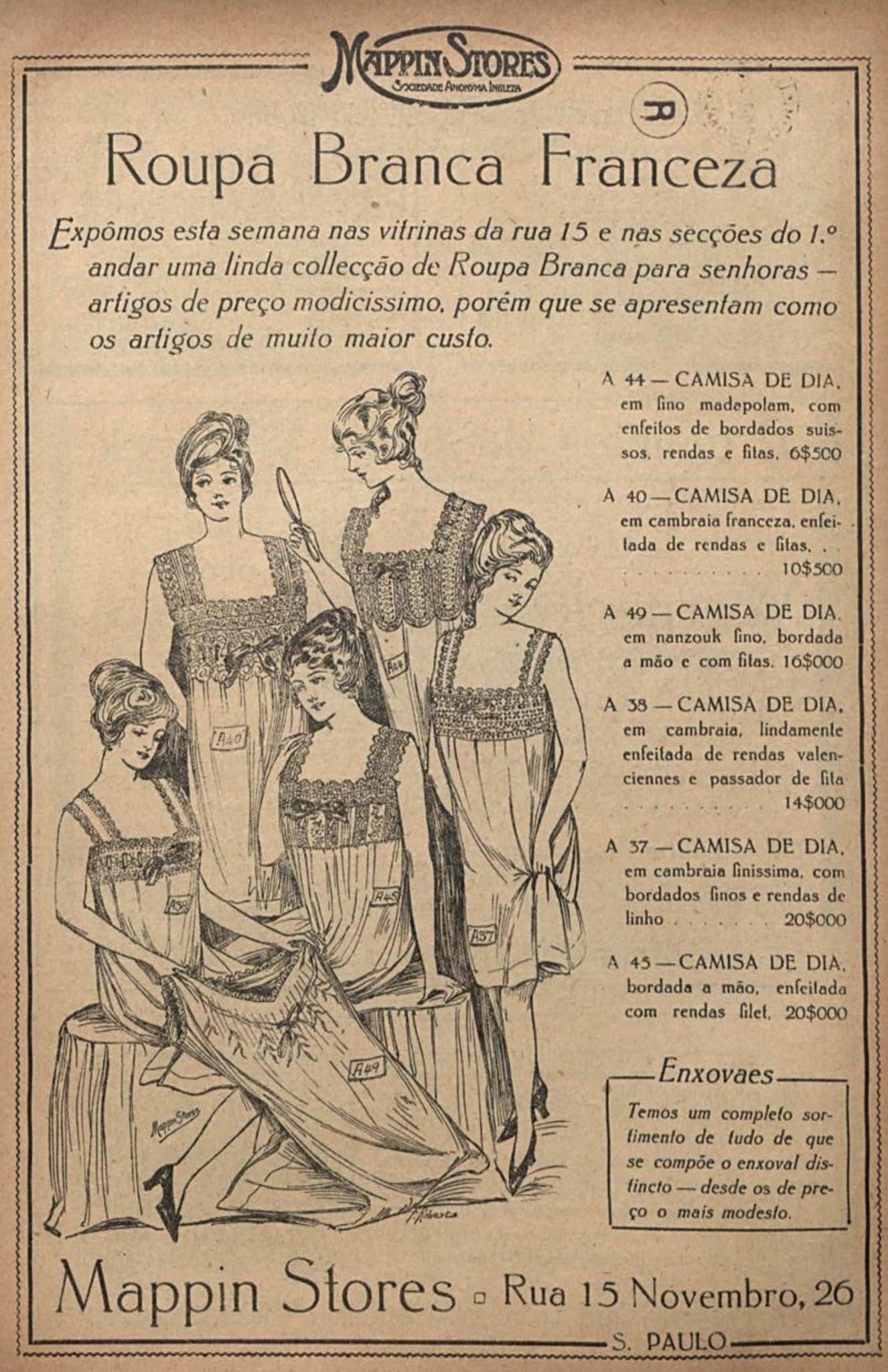 Anúncio de 1917 promovia linha de roupas brancas vindas da França