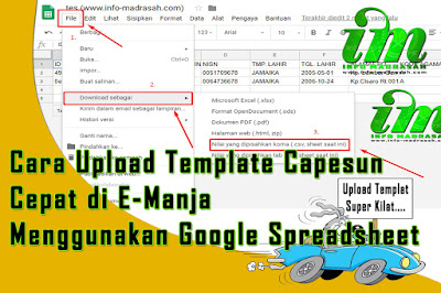 Proses pendataan untuk tingkat MI sudah memasuki waktu final Cara Upload Template Capesun Cepat di E-Manja Menggunakan Google Spreadsheet