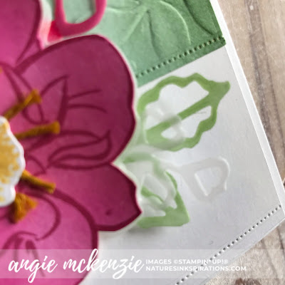 By Angie McKenzie for Kylie's International Highlights Top Ten Winners Blog Hop; Click READ or VISIT to go to my blog for details! Featuring the To A Wild Rose Stamp Set and Dies, Stitched Nested Labels Dies, Layered Leaves 3D Embossing Folder; #toawildrosestampset #inspiredbynature #coloredlinenthread #stampinupinks  #fauxoxidetechnique #fussycutting #encouragementcards #cardtechniques #vellumlayers