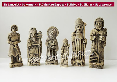 Sir Lancelot St Kornely St John the Baptist St Brioc St Eligius St Lawrence Figurines in natural stone with granite finishing Breton craft