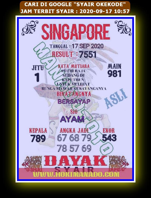 Kode syair Singapore Kamis 17 September 2020 95