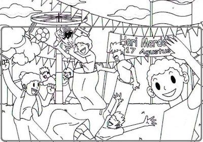 Sketsa Gambar Lomba Panjat pinang untuk SD