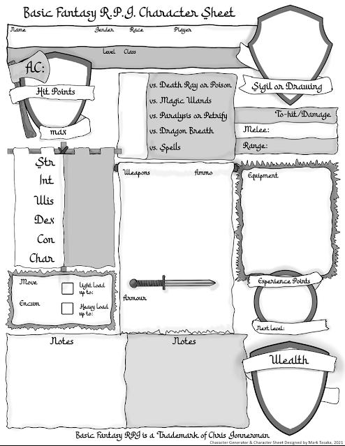 Basic Fantasy RPG Fighter Character Generator