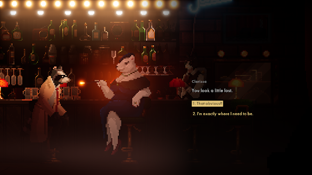 Screenshot from game Backbone where the protagonist is talking to Clarissa