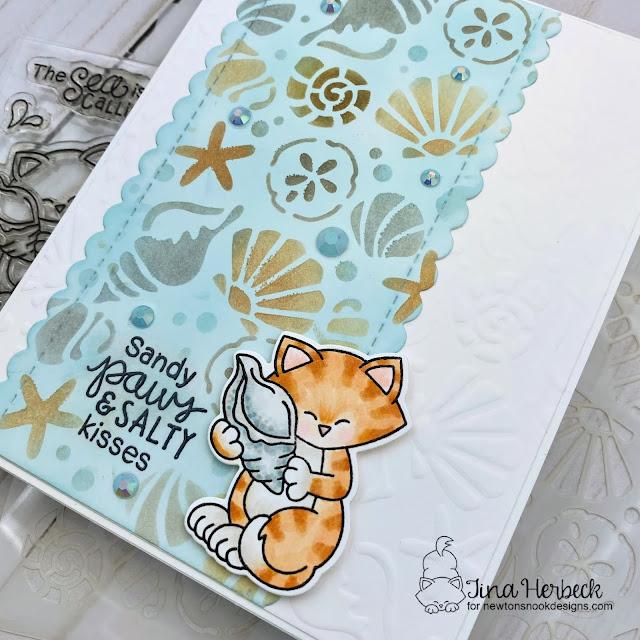 Sandy Paws & Salty Kisses Card by Tina Herbeck | Newton's Seashell Stamp Set, Slimline Frames & Portholes Die Set and Seashells Stencil by Newton's Nook Designs #newtonsnook #handmade