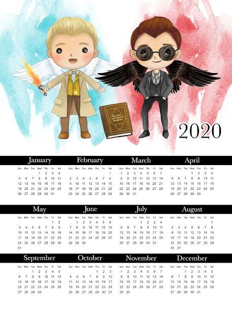 Good Omens; Calendario 2020 para Imprimir Gratis.
