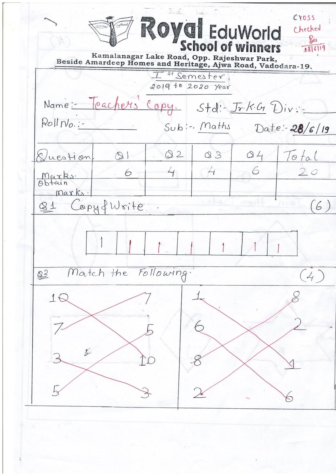 Jr Kg Unit Test Paper Maths 28 06