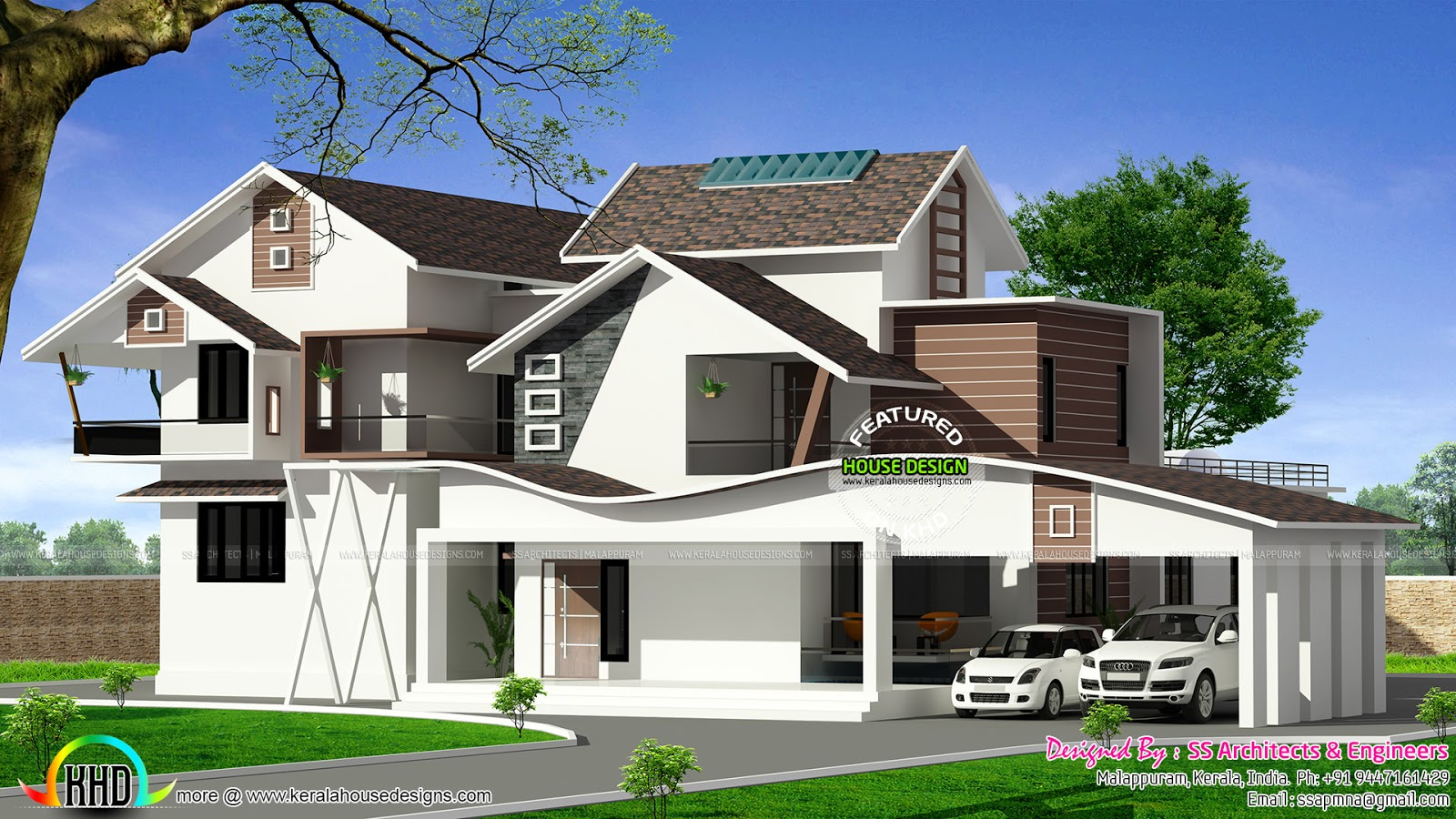 House design hilly area - Wavy Roof House Plan