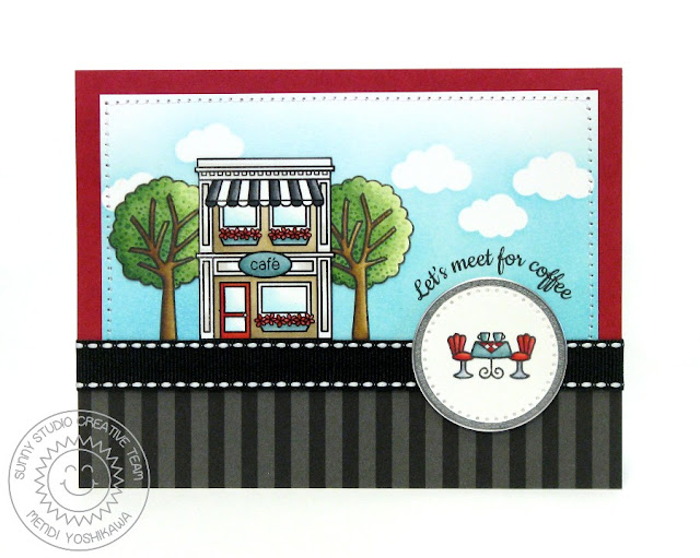Sunny Studio Stamps: City Streets Cafe Card by Mendi Yoshikawa (with tree from Happy Home set)