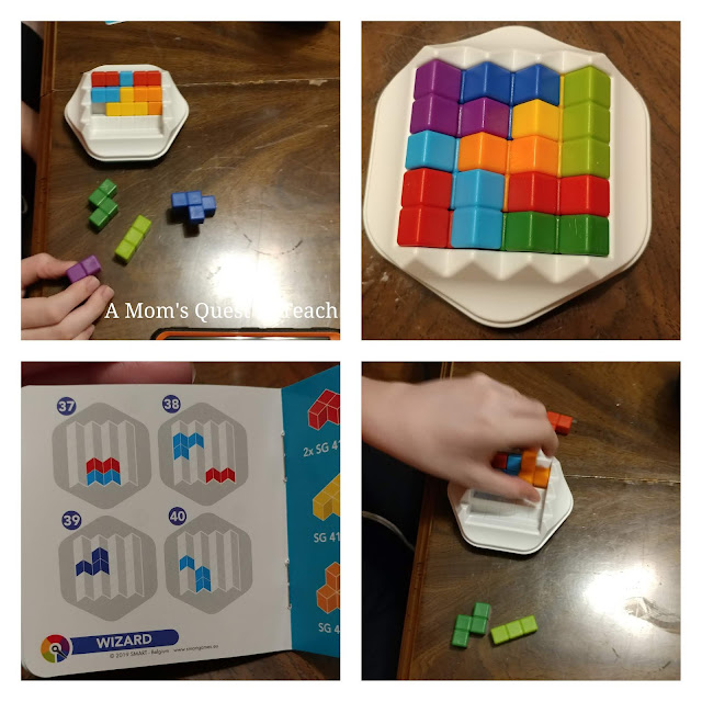 four photos showing steps and solution booklet for Zig Zag Puzzler