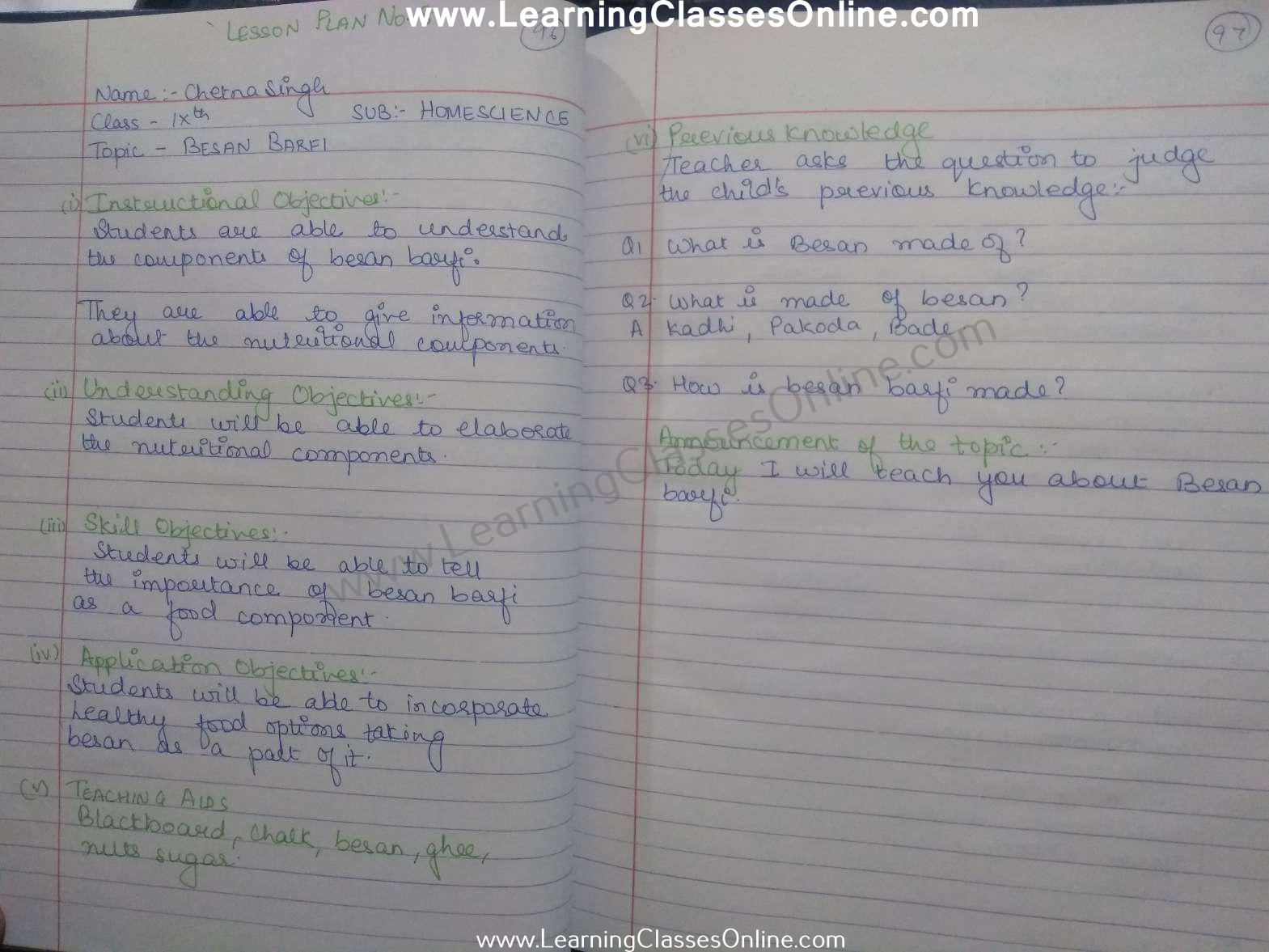 Home Science Lesson Plan Class 8 in English on Besan Barfi free download pdf