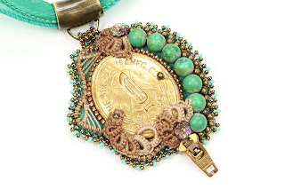 Singer Sewing Machine jewelry with turquoise