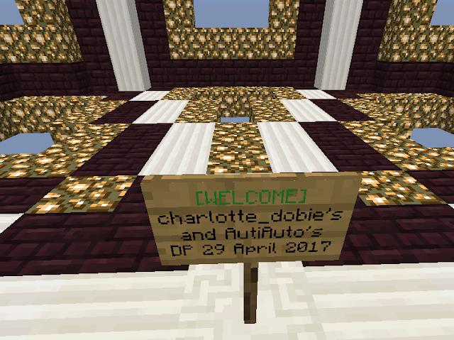 Bordje met tekst Charlotte Dobie's en Autiauto's drop party.