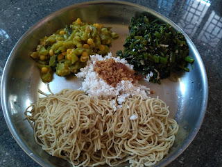 Fire cooked lunch - Sorghum stringhopper, Greens poriyal, Snake gourd kootu