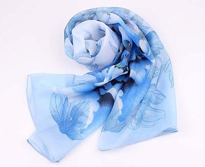 Flower Print Blue Chiffon Scarves Shawls