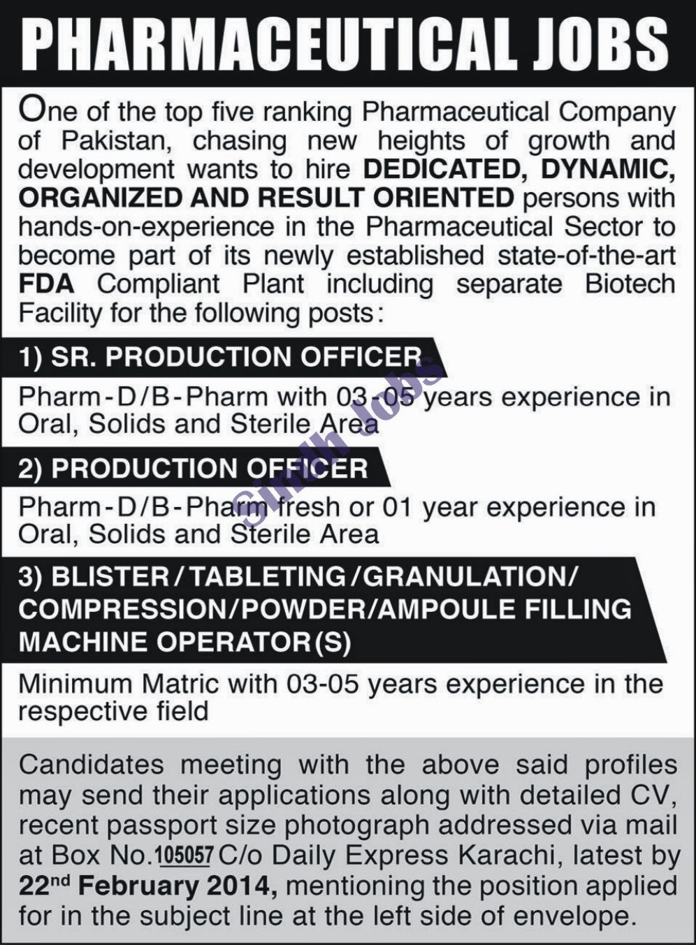 Sindh Jobs: Pharma Jobs