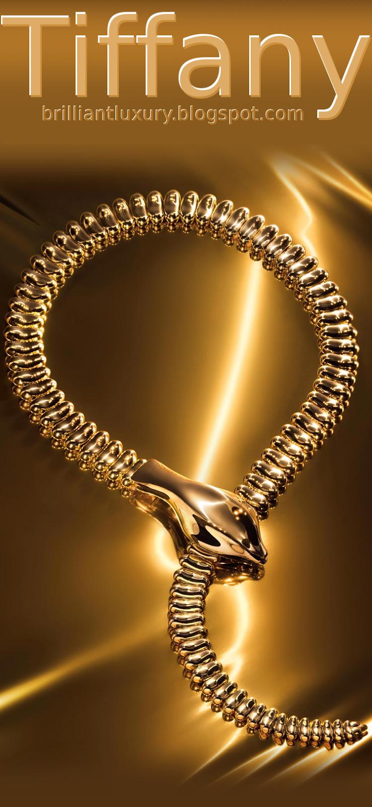 Brilliant Luxury ♦ Tiffany Elsa Peretti® snake necklace in 18k gold