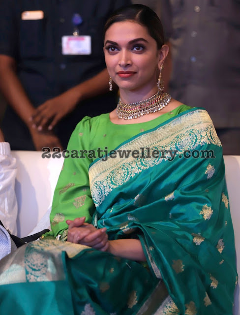 Deepika Padukone in Temple Jewellery