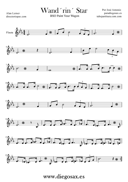 Partitura de Wand´rin´ Star de Lerner and Lowe para Flauta. Wand´rin´Star Score for Flute. Partitura de La Estrella Errante para Flauta.