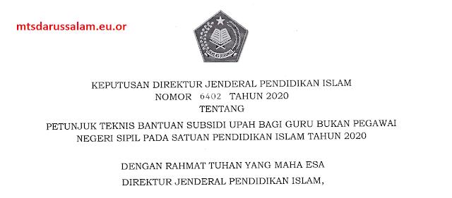 Juknis Bantuan Subsidi Upah bagi Guru Bukan Pegawai Negeri Sipil Pada Madrasah Tahun 2020