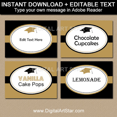 printable graduation food labels black and gold with editable text