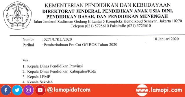 Surat Pemberitahuan Pre Cut Off BOS Triwulan 1 Tahun 2020