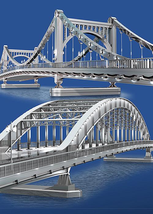 リアルイラスト、3DCG、永代橋、清洲橋、鋼鉄、橋