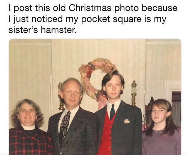 hamster pocket square - I post this old Christmas photo because I just noticed my pocket square is my sister's hamster. moglo
