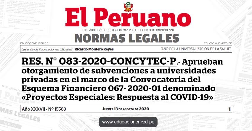 RES. N° 083-2020-CONCYTEC-P.- Aprueban otorgamiento de subvenciones a universidades privadas en el marco de la Convocatoria del Esquema Financiero 067- 2020-01 denominado «Proyectos Especiales: Respuesta al COVID-19»
