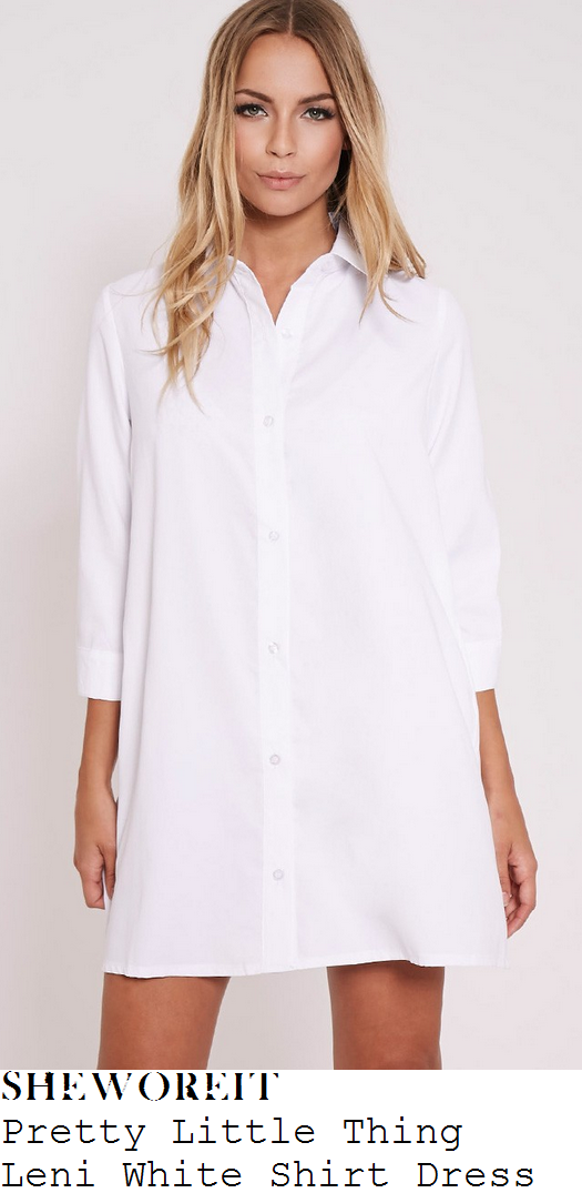 vicky-pattison-white-three-quarter-sleeve-collared-button-up-shirt-mini-dress-this-morning
