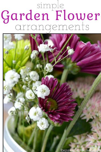 Simple Garden flower arrangements in a mason jar