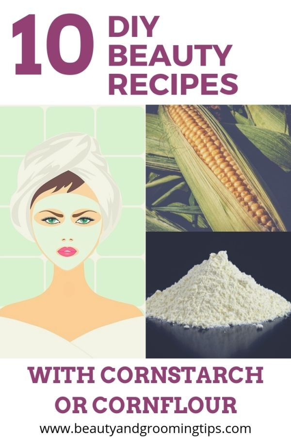 woman with cornstarch facemask, corn & cornstarch photo collage