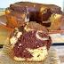 Receita saudável de bolo mesclado de baunilha com chocolate