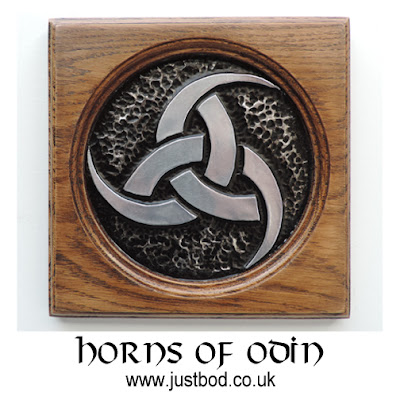 Horns of Odin sculpted wood and metal plaque