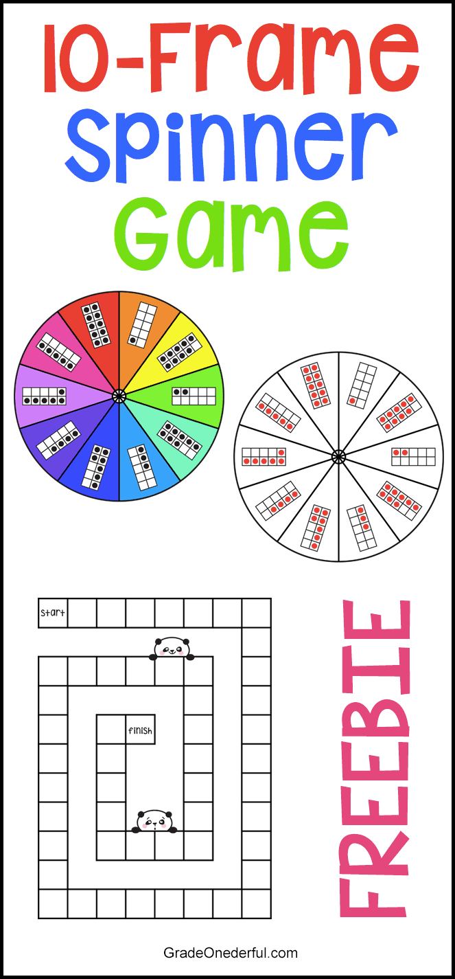 Fabulous and fun 10-frame spinner game freebie. Perfect for Kindergarten and Grade 1! #gradeonederful #10frames #tenframes #spinnergames #mathgames #1stgrademath