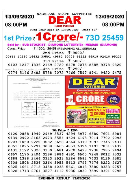 Lottery Sambad Today 13.09.2020 Dear Hawk Evening 8:00 pm