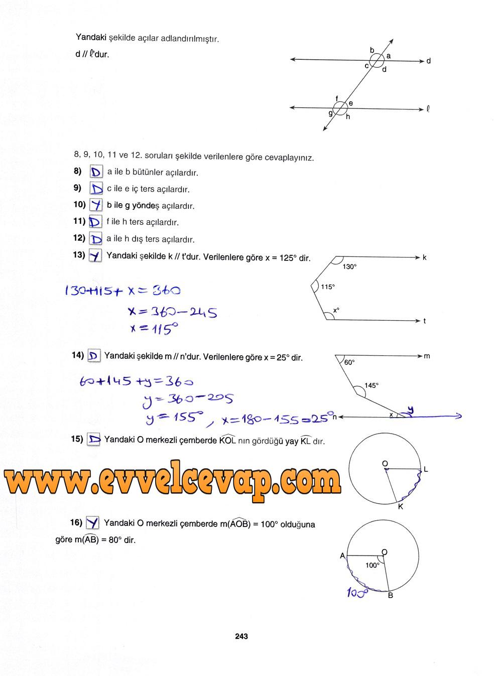 7. Sınıf Gizem Yayınları Matematik Ders Kitabı 243. Sayfa Cevapları 4.Ünite Değerlendirme Çalışmaları