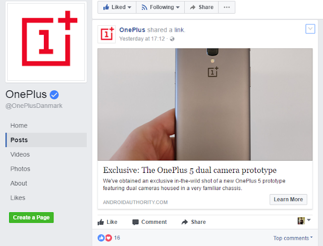 OnePlus confirms OnePlus 5 Leaked Prototype Design on Facebook!?